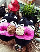 Cartoon Black Cat Wool Women's Slide Slipper