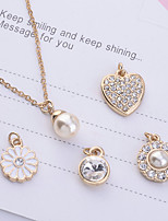 Lureme®Gold Plated Pearl Pendant Necklace(5 Pieces of Pendant per Set)