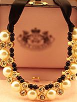 Z&X®  European Ribbon (Drop) Multicolor Imitation Pearl Pendant Necklace(Black,White) (1 Pc)