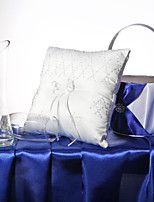 White Handmade Beading Square Satin Ring Pillow