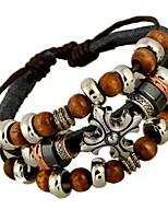 Classic Archaistic 20cm Men's Black Leather Strand Bracelet()(1 Pc)