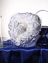 White Satin Roses & Lace Wedding Ring Pillow With Ring Box