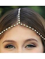 Cadeia étnico com imitação Pérola Ouro Liga Headbands Para Mulheres (1 Pc)