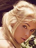 Étnico oco Círculo com Tessel liga de ouro Headbands Para Mulheres (1 Pc)