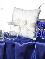 Ivory Satin Bow Pearl Ring Pillow