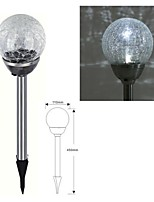1-LED Stainless Steel Solar White Crackle Glass Ball Stake Light  Lawn Lamp