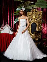 A-ligne de robe de mariée en tulle de train tribunal princesse bustier