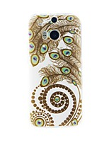 Peacock Feather Diamond Paste Pattern TPU Soft Case for HTC one(M8)