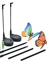 Set of 2 Solar Fibre Optic Butterfly Stake Lights Garden Decoration Lamp