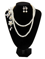 Fashion Three Flowers Pearl Jewelry Set(Necklace,Earrings)