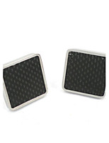 Smart Man Black Carbon Fibre for Health 316L Stainless Steel Cufflink