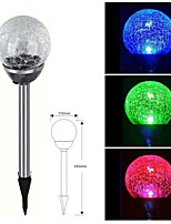 1-LED Stainless Steel Solar Color Changing Crackle Glass Ball Stake Light  Lawn Lamp