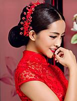 elegante cocar Vermelha chinesa para casamentos