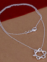 Fashion Star Shape Silver Plated Silver Flower Pendant Necklace(White)(1Pc)
