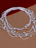 Fashion Round Beads Pendant Silver Plated Simple Snake Five Chains Necklace(White)(1Pc)