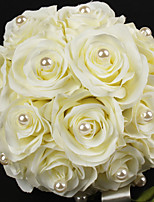 Wedding Flowers Round Roses Bouquets Satin Cotton 8.66