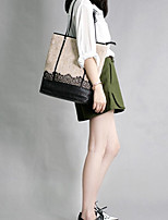 Women's Vintage Lace Stitching Straw Woven Tote Bag