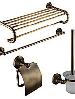 Contemporary Antique Brass 4pcs Bathroom Accessory Set Towel Shelf Towel Bar Paper Holder Brush and Holder