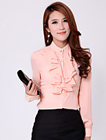 Women's Micro-elastic Long Sleeve Regular Blouse (Chiffon)