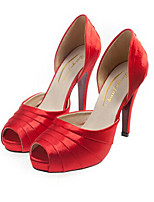 Women's Shoes Silk Stiletto Heel Heels / Peep Toe / Platform Sandals Wedding / Party & Evening / Dress Red