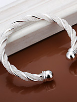 Fashion Round Shaped Silver Plating  Twisted Wire Mesh Adjustable  Bracelet (Silver)(1Pc)