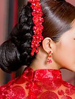 Elegantní čínská červená čelenka pro svatby