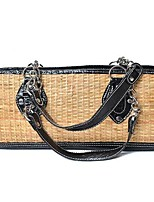 Women's Leather Belt Woven Tote Bag