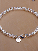 Siver Plated Square Copper Chain Bracelet