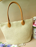 Women's Basic Color Woven Tote Bag