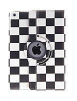 Kinston 360 graus Rotatable Quadrados preto e branco Padrão PU Leather Case Full Body com suporte para iPad Air