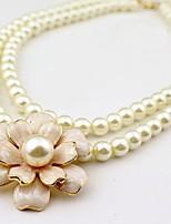 Korean Style Fashion Pearl Camellia Double Necklace