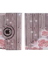 grão de madeira e pequeno grau pattern360 flor vermelha rotativa estojo de couro pu com suporte para o ipad 2/3/4
