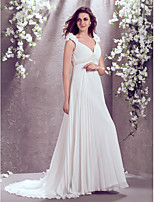 LAN TING BRIDE A-line Wedding Dress Court Train V-neck Chiffon with