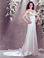 LAN TING BRIDE A-line Wedding Dress Court Train V-neck Stretch Satin with