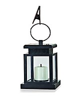 1-LED White Solar Lantern with Mock Candle Umbrella Light Garden Lamp