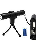 ZLS819 Flashlight Shaped Zoom Light Match Waterproof Green Laser Pointer(4MW,532nm,1x16340,Black)