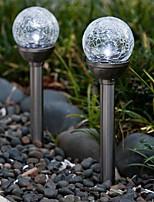 Ensemble de 2 Modification de la couleur solaire Crackle Boule en verre participation Lampe de jardin Lumière