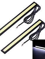 Merdia 2PCS 7W 1800LM 6000K COB White Light Car Strip Light / Daytime Running Light (17CM / 12V)
