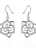 Lovely Silver Plated Clear Crystal Hollow Flower Dangle Earrings for Party Women Jewelry Accessiories