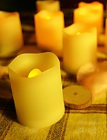Set of 12 Ivory Color Plastic Flameless LED Votive Candles with Remote