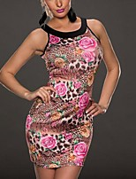Women's Round Collar Coloured Drawing Floral Tight Sleeveless Mini Dress