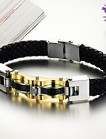 Personality Gold Titanium Steel Men's Leather Bracelet