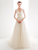 Wedding Party Dress - Ivory A-line V-neck Cathedral Train Lace / Tulle