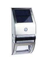 2-LED White Stainless Steel Solar Wall Light With PIR Motion Sensor