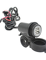 Motorcycle Mobile Waterproof Splashproof 2 USB Power Supply Port Socket Charger 2.1A