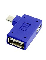 Right Angled 90 Degree Micro USB OTG Host Flash Disk Adapter with Micro Power for Galaxy Note3 S3/S4/i9500