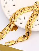 Vogue 22CM Men's 24K Yellow Gold Filled Bracelet Figaro Curb Link Chain 12MM Width