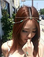 moda turquesa cadeia pepita coroa de cabelo acessórios de cabelo