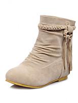 Women's Shoes Fleece Flat Heel Fashion Boots / Round Toe Boots Dress / Casual Black / Brown / Beige / Khaki
