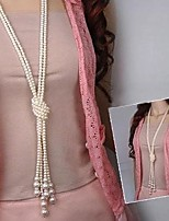 Lureme®Fashion Pearl Multilayer Tie a Knot Long Necklace